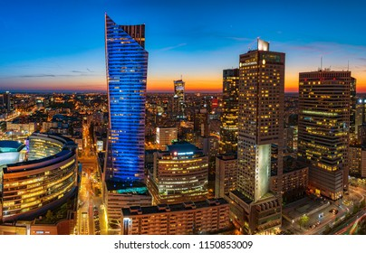Warsaw, Poland, April 2018:Warsaw city with modern skyscraper at sunset