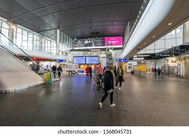 Warsaw, Poland. April, 2019.   interior view of the central Warsaw station