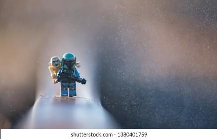 Warsaw, Poland - April 2019 - lego star wars minifigure bounty hunter with friend