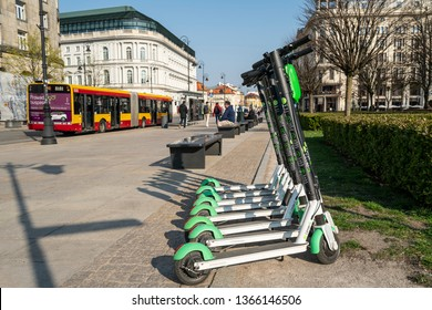 Warsaw, Poland. April, 2019.    some Electric scooters sharing on the streets of the city center