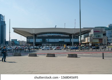 Warsaw, Poland. April, 2019.   view of the central Warsaw railway station building