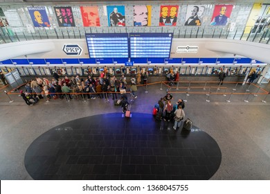 Warsaw, Poland. April, 2019.  view of people lined up at the ticket office of the central Warsaw station