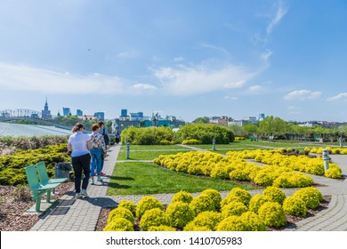 Warsaw Poland. April 2019. A view of the grounds at the Warsaw University Library, in Warsaw in Poland