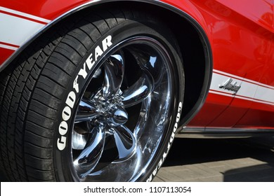 Warsaw, Poland - April, 21, 2018: Alloy wheel detail of classic Ford Mustang car.