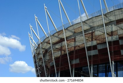WARSAW, POLAND - APRIL 22, 2015: National stadium in Warsaw, Poland, the arena of UEFA Europa League Cup Final in 2015