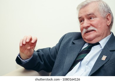 Warsaw, Poland - April 23, 2007: Portrait of former Polish president Lech Walesa during press interview in Warsaw city