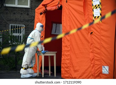 Warsaw, Poland, April 23, 2020: Warsaw during COVID-19 epidemic, coronavirus testing point in front of the hospital