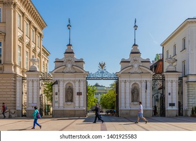 Warsaw Poland. April 25 2019. A view of the entrance to the University of Warsaw in Warsaw in Poland