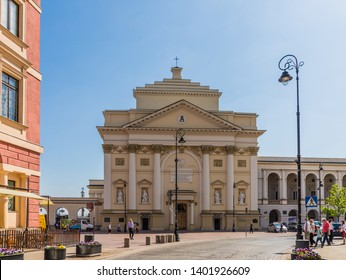 Warsaw Poland. April 25 2019. A view of St Annes Church in the Old town in Warsaw in Poland