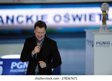 WARSAW, POLAND - APRIL 26, 2015: Hand Ball Polish League Cup Final : Vive Tauron Kielce vs Orlen Wisla Plock o/p: Rafal Brzozowski singer