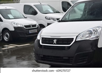 Warsaw, Poland - April, 28, 2017: Peugeot cars in the row parked in exhibition point.