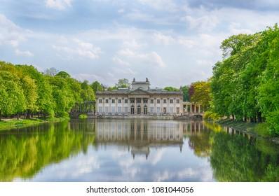 Warsaw, Poland - April 28, 2018: Evening View of the Lazienki palace in Lazienki Park, Warsaw
