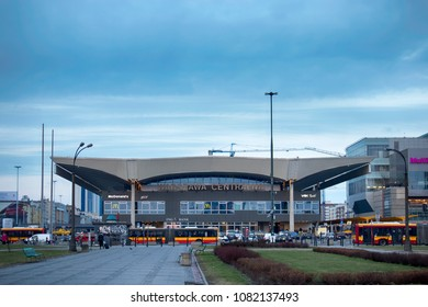 WARSAW, POLAND - APRIL 28, 2018: view of the Warszawa Centralna railway station. Its construction began in 1972 and was completed in 1975. Is the primary railway station in Warsaw.