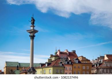 WARSAW, POLAND - APRIL 28, 2018 , Zygmunt Column, Castle Square, Old Town, Warsaw, Poland