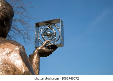 WARSAW, POLAND - APRIL 28, 2018: Monument of Polish physicist and chemist, first woman to win a Nobel Prize - Marie Sklodowska Curie in Warsaw
