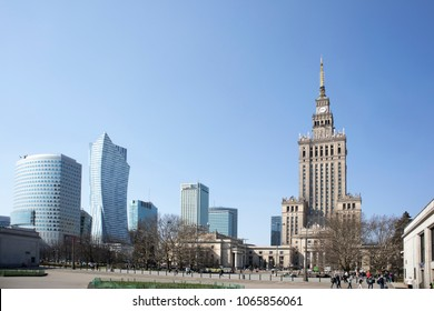 Warsaw, Poland - April 8, 2018: View on Palace of Culture an Science and modern office buildings