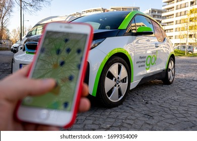 Warsaw, Poland- April 8, 2020: BMW i3 electric car for minutes is parked in the city. Innogy Go, electric car rental. Car Sharing innogy GO Warszawa.