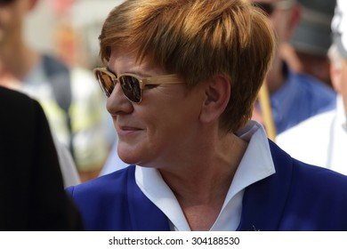 WARSAW, POLAND - AUGUST 06, 2015: Beata Szydlo (Law and Justice party) - candidate for Prime Minister at the general election due in the autumn of 2015 during a meeting with voters.
