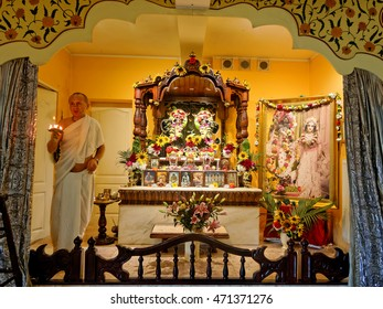 WARSAW, POLAND - AUGUST 07. Open Sunday program in Hare Krishna Temple in Mysiadlo - Warsaw, August 07, 2016. The priest offers the flames for all who came to the temple from Main Altar.