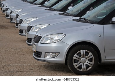 Warsaw, Poland - August, 08, 2014: Skoda Fabia cars in the row in exhibition point.