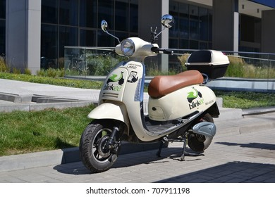 Warsaw, Poland - August, 08, 2017: Electric scooter for rent on the street.