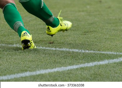 WARSAW, POLAND - AUGUST 09, 2015: Wisla Krakow goalkeeper feet in action during Polish League football match between Legia Warsaw and Wisla Cracow in Warsaw.