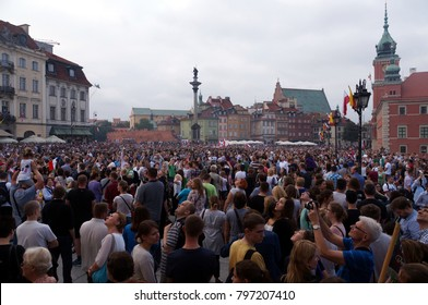 Warsaw / Poland - AUGUST 1, 2014: Castle square -peoples at  anniversary of the Warsaw Uprising (1944).