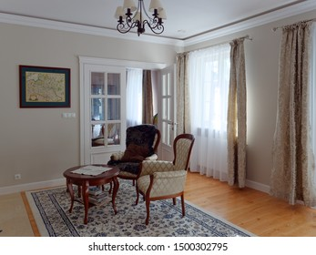 WARSAW, POLAND - AUGUST 1, 2019: living room of a private house