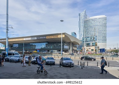 Warsaw, Poland - August 10, 2017: Central Warsaw (Warszawa centralna) railway station. and modern sky scrapers. Warsaw is the capital and largest city of Poland with 2 million residents.