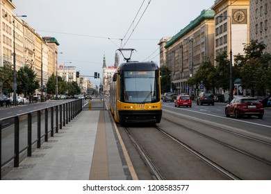 Warsaw, Poland - August 10, 2018: Bi-directional Jazz tram, produced by Polish company Pesa in Warsaw, Poland.