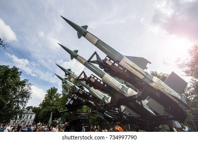 WARSAW, POLAND - AUGUST 15, 2013: Polish Armed Forces Day, Rockets S-125 Newa, Earth-to-air missile guided missile system. Poland on August 15, 2013