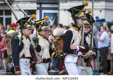 WARSAW, POLAND - AUGUST 15, 2016: Armed Forces Day is a national holiday commemorating the anniversary of the 1920 victory war. Volunteers appearing in historical dress from past wars.