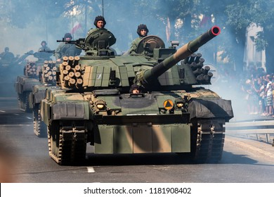 WARSAW, POLAND - AUGUST 15, 2017: Military parade during the ceremony of celebration Polish Army Day a national holiday, which celebrates the anniversary of the Battle of Warsaw