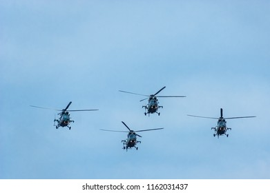 Warsaw, Poland - August 15, 2018: PZL W-3PL participate in a military parade in the Polish capital.