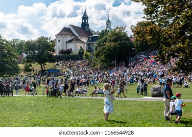 Warsaw, Poland - August 15, 2018: A crowd of people watching Great Independence Parade, which was the main point of the celebration of the Polish Army Day.