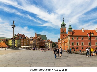 Warsaw, Poland - August 2, 2017: Architecture and people on the street New World in Warsaw