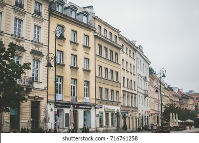Warsaw, Poland - August 20, 2017: Poland's capital Warsaw on early August morning. Central part of the city.  Beautiful architecture of local buildings