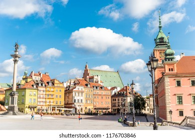 Warsaw / Poland - August 20 of 2018 : Central square with colorful houses in Warsaw city. European architecture of old town in Poland. Concept of travel and city landscape.