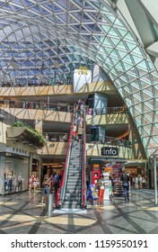 WARSAW, POLAND. AUGUST 2018: Interior of Zlote Tarasy(Golden Terraces)is a commercial, office & entertainment complex in  center of Warsaw, Poland, located next to Warszawa Centralna railway station