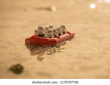 Warsaw, Poland - August 2018 - Lego Star Wars minifigures on boat