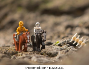 Warsaw, Poland - August 2018 - Lego Star Wars minifigures droids on horses