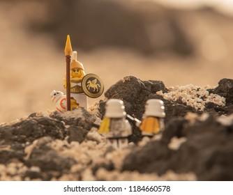 Warsaw, Poland - August 2018 - Lego Star Wars minifigures amazon defend droid