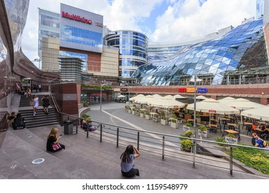 WARSAW, POLAND. AUGUST 2018: Złote Tarasy (Golden Terraces) is a commercial, office, and entertainment complex in the center of Warsaw, Poland, located next to Warszawa Centralna railway station