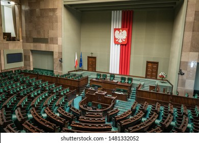 Warsaw, Poland - August 2019: The lower house of the Polish parliament called Sejm