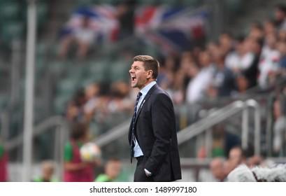 Warsaw, Poland, August 22, 2019: UEFA Europa League qualification round Legia Warszawa - Glasgow Rangers FC: Steven Gerrard coach (Rangers FC)