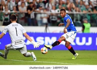 Warsaw, Poland, August 22, 2019: UEFA Europa League qualification round Legia Warszawa - Glasgow Rangers FC: Alfredo Morelos (Rangers FC) in action