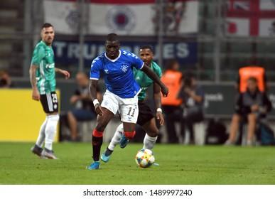 Warsaw, Poland, August 22, 2019: UEFA Europa League qualification round Legia Warszawa - Glasgow Rangers FC: Sheyi Ojo (Rangers FC) in action