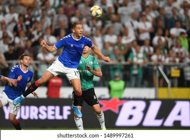 Warsaw, Poland, August 22, 2019: UEFA Europa League qualification round Legia Warszawa - Glasgow Rangers FC: Nikola Katic (Rangers FC) headers the ball