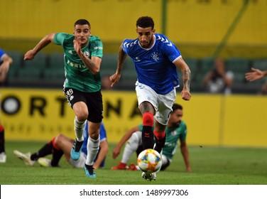 Warsaw, Poland, August 22, 2019: UEFA Europa League qualification round Legia Warszawa - Glasgow Rangers FC: Connor Goldson (Rangers FC) in action