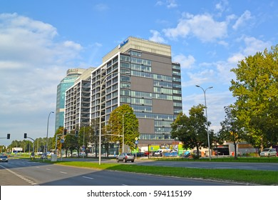 WARSAW, POLAND - AUGUST 23, 2014: A type on modern office Evrotsentrum complex on the street the Jerusalem avenues